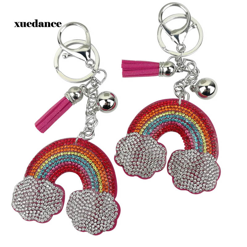 Creative Color Colorful Rainbow Keychain Cloud With Full Crystal Keychain Girl Fashion Accessories Bag Ornaments Accessories