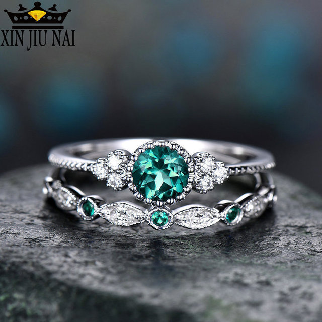 3 Colors Stackable Double Rings Sets For Women 925 Silver Round Green Blue Zircon Stone Engagement Female Birthstone Ring 3
