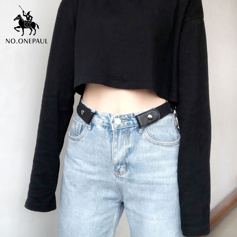 NO.ONEPAUL Belt Without Buckle Hidden Leather Buckle Free Elastic Stretch Black  Invisible Secret Belts For Women Jeans Trouser