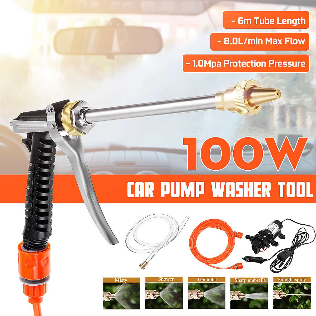 Household Car Wash Pump 100w Portable High Pressure Electric Car Wash Washer 160PSI 12V Car Washer Washing Machine