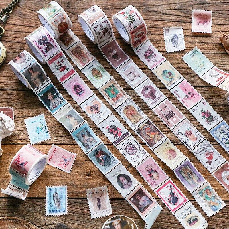 1set/1lot Washi Masking Tapes Vintage Stamp Decorative Adhesive Scrapbooking DIY Paper Japanese Stickers 3M