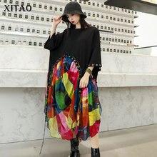 XITAO Chiffon Rivet Irregular Midi Dress Women Clothes 2019 O Neck Patchwork Summer Plus Size Summer Elegant New WLD2120