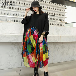 XITAO Chiffon Rivet Irregular Midi Dress Women Clothes 2019 O Neck Patchwork Summer Plus Size Summer Elegant New WLD2120