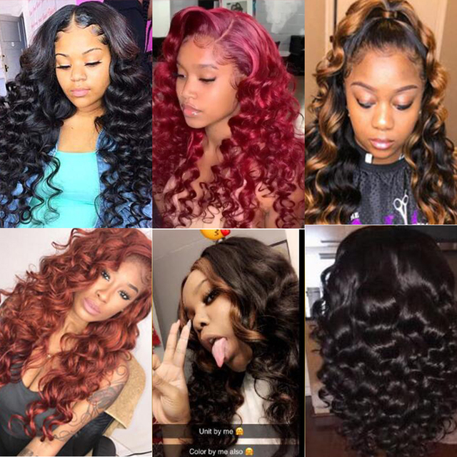 Dejavu Brazilian Hair Weave Bundles With Frontal Closure 13*4 Inch Human Hair 3 Bundle Deals Loose Wave Non-Remy hair 3