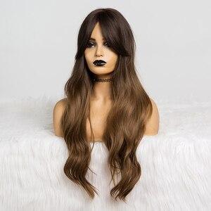 Image 2 - Длинные Синтетические парики для женщин, с эффектом омбре