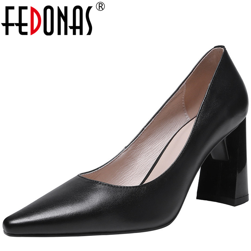 FEDONAS Women Pumps Cow Leather Prom Pumps Party Shoes Spring Summer Shallow Slip On High Heeled  Square Toe 2020 Shoes Woman