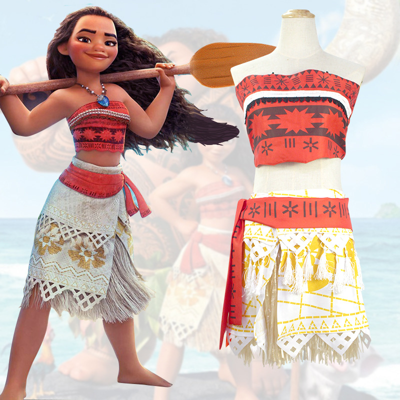 Moana Princess Girls Halloween Fancy Dress Outfits Kids Cosplay Costume+Necklace