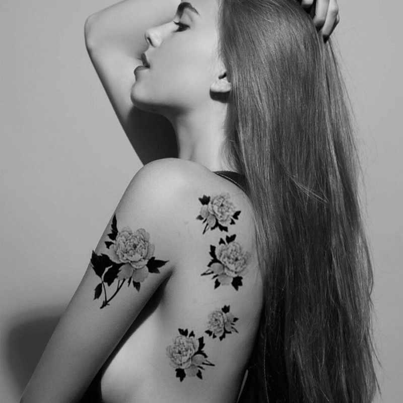 Preto quente grande flor corpo arte à prova dwaterproof água temporária sexy tatuagens mão desenho rosa para a mulher flash tatuagem adesivos 10*20 cm