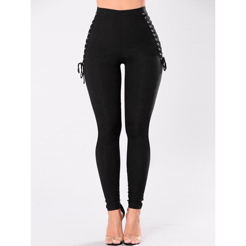 Rosetic Gothic Bandage Leggings Pants Women Black Punk Moto Sexy Club Slim Goth Girl Elastic Trousers High Street Pencil Pants