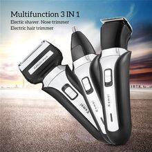 Recortadora de pelo 3 en 1, Afeitadora eléctrica recargable de tres hojas, cuchillo para Barba, tijeras de barbero Profesional para el hogar o uso en salón, enchufe europeo