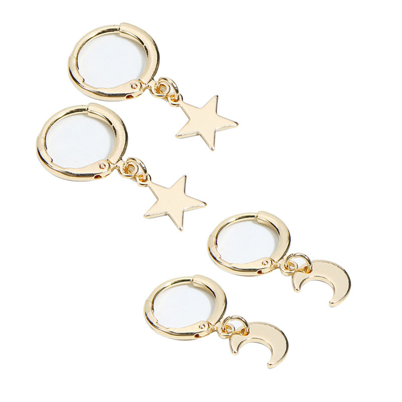 European and American Best Selling Earrings with Moon Star Earrings Female Ear Clip Ear Stud Ornament for Women Wholesale