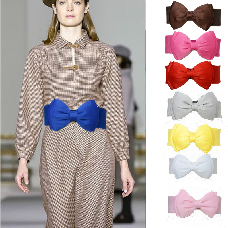 Luxury Brand 2019 New Gaine Slimies Bow Elastic Belt Ladies Fashion Casual Candy Multicolor Belt For Dresses Bg-1385