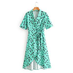 Женское элегантное платье-миди с v-образным вырезом, асимметричным подолом, коротким рукавом и бантом, платье-кимоно DS3445