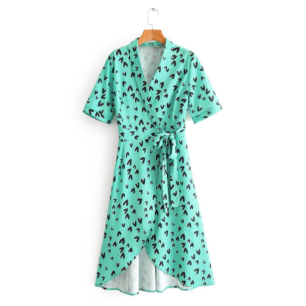 women elegant cross v neck printing irregular hem midi dress ladies short sleeve bow vestidos chic kimono style dresses DS3445
