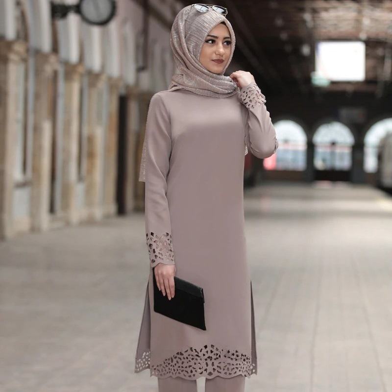 Turkey Muslim Dress Women Long Top Hollow Solid Islamic Clothing Hijab Dresses Moroccan Kaftan Jilbab Party Vestidos Abaya 2020