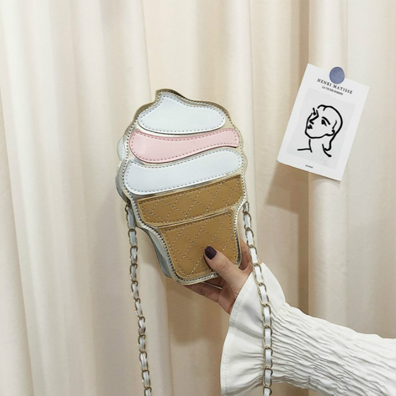 Personality Designers Brand Ice Cream Bag Women 2020 New Cake Package Cute Coin Purses Cartoon Shoulder Bag Messenger Chain Bag