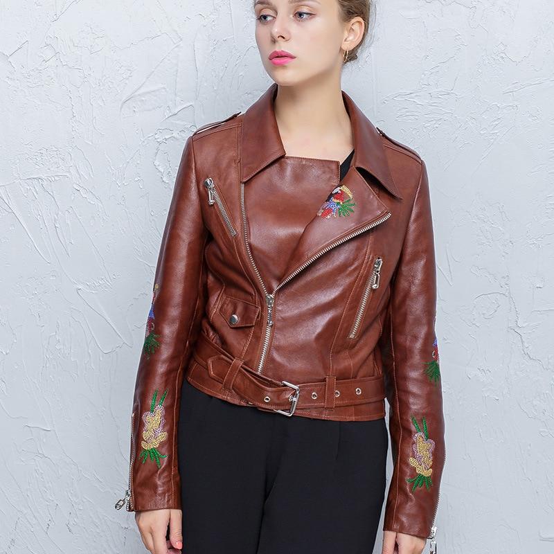100% Real Sheepskin Coat Female Genuine Leather Jackets Women Short Montone Biker Jacket Female Clothes 2019 Hiver DF1601