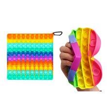Grande tamanho pop push bubble fidget brinquedos para schoolbag pingente quente adulto alívio do estresse brinquedo popit macio macio anti-stress presente