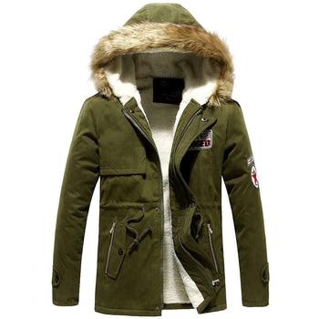 Parka Men Hot Sale Winter Jacket Men Thick Slim Fur Hooded Outwear Warm Coat Casual Solid Brand Outwear Clothing Plus Size S-4XL