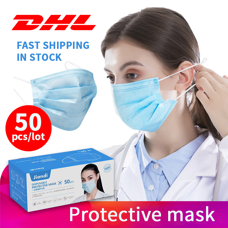 50PCS FFP2 Disposable Masks Anti Dust PM2.5 Mouth Face Mask 3-layer Non-Woven Masks Soft Protective Mask CE Certification