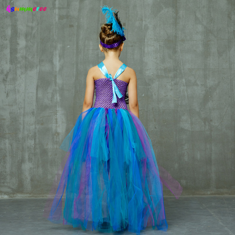 Peacock Tutu Costume Dress Child Girls Pageant Prom Ball Gown Princess Peacock Feather Halloween Birthday Party Train Dress 5