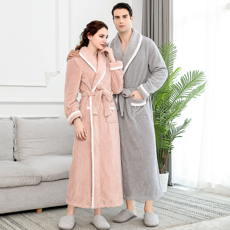 Men Winter Robes Plus Size Extra Long To Ankle Warm Bathrobe Women Pineapple Plaid Coral Fleece Night Sleepwear Dressing Gown