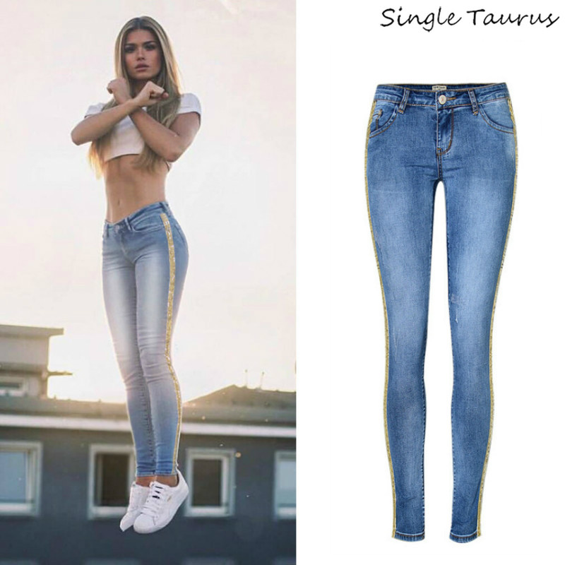 2020 Spring New Low Waist Metal Side Stripe Jeans Women Cotton Denim Slim Skinny Pencil Pants Mujer Embroidered Sequins Trousers