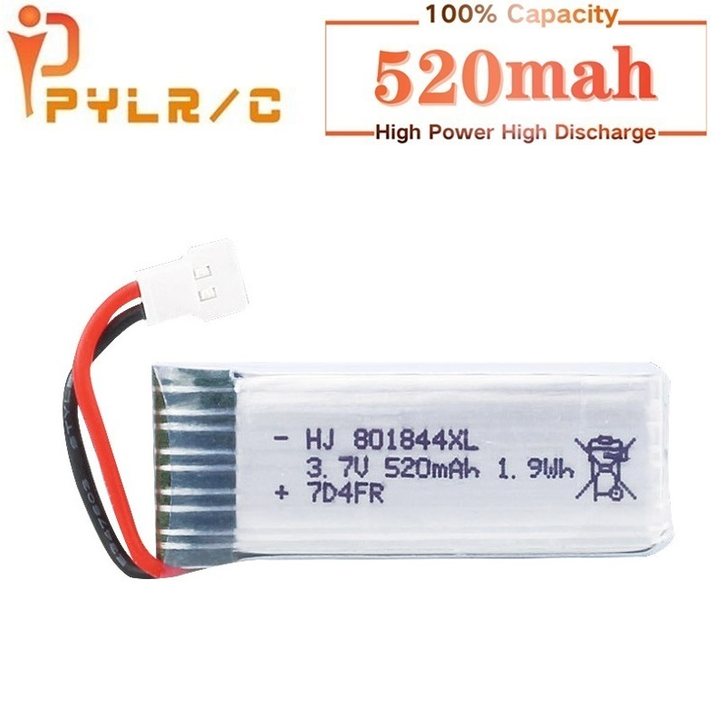 <font><b>3.7v</b></font> Rc <font><b>Lipo</b></font> <font><b>Battery</b></font> for Hubsan H107P 801844 <font><b>3.7V</b></font> <font><b>520mAh</b></font> 25c 1.9Wh <font><b>Battery</b></font> for H107P RC Camera Drone Accessories 1Pcs image
