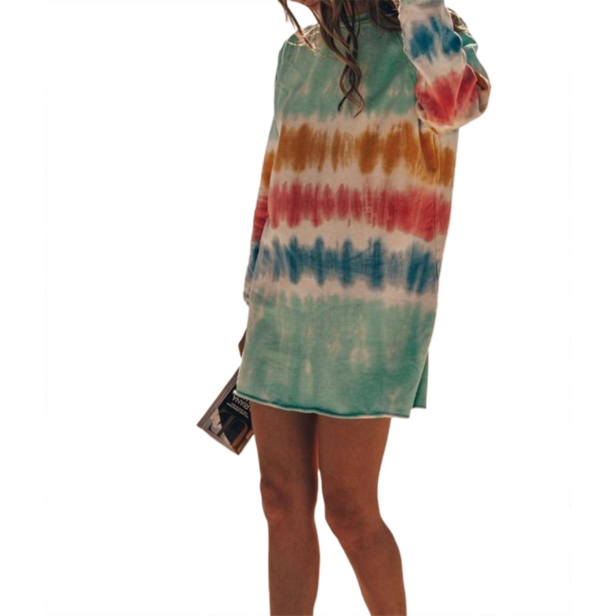 hirigin New Casual Rainbow Tie Dye Print Sweatshirt Dress for Women Long Sleeve O-Neck Mini Dress Female Loose Straight Dress 5