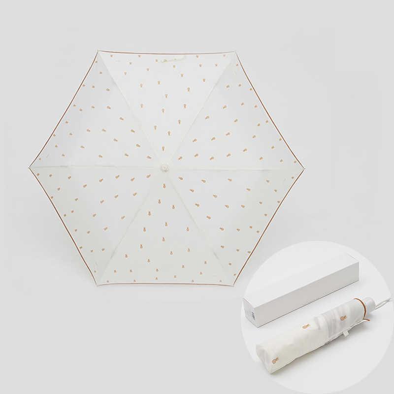 Mignon Fruit trois parapluie pliant pour les femmes Anti-UV protection solaire Parasol automatique coupe-vent double usage ensoleillé et pluie parapluies