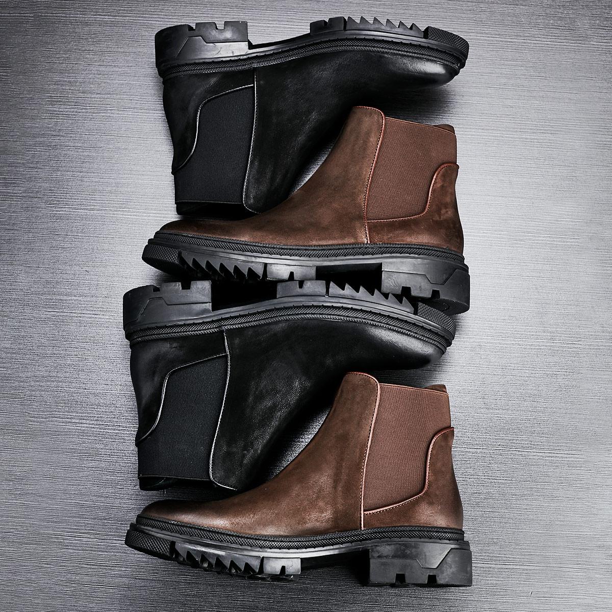 Bottoms grossas botas Chelsea Alta Qualidade do Couro Genuíno botas de outono inverno homens Britânicos sapatos de couro botas de combate militar - 4
