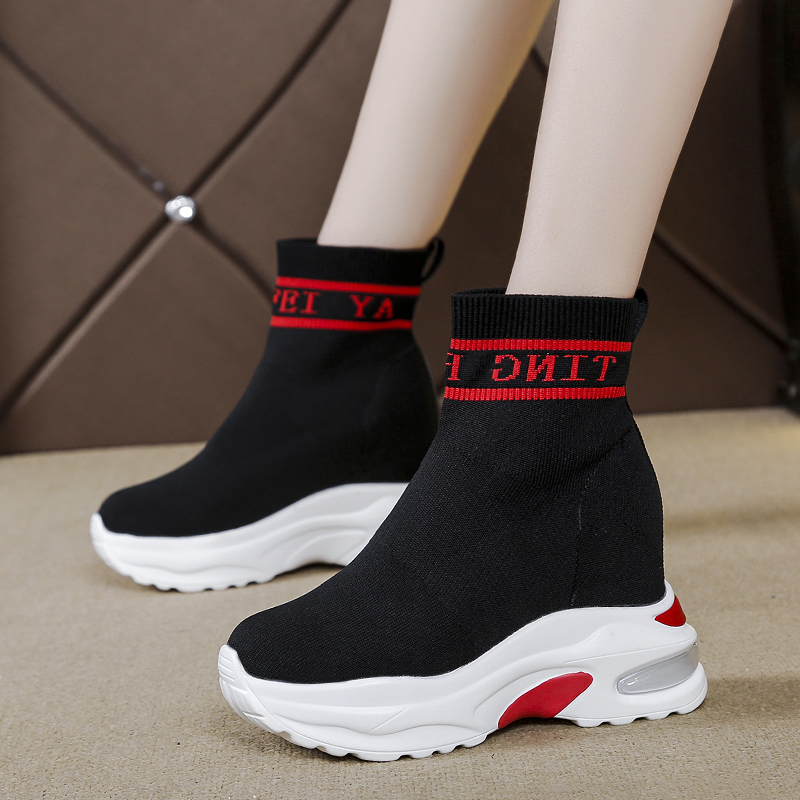 Rimocy Comfy Knitted Sock Shoes Women Platform Sneakers 2019 Autumn Slip On High Heels Thick Bottom Wedge Sneakers Women White