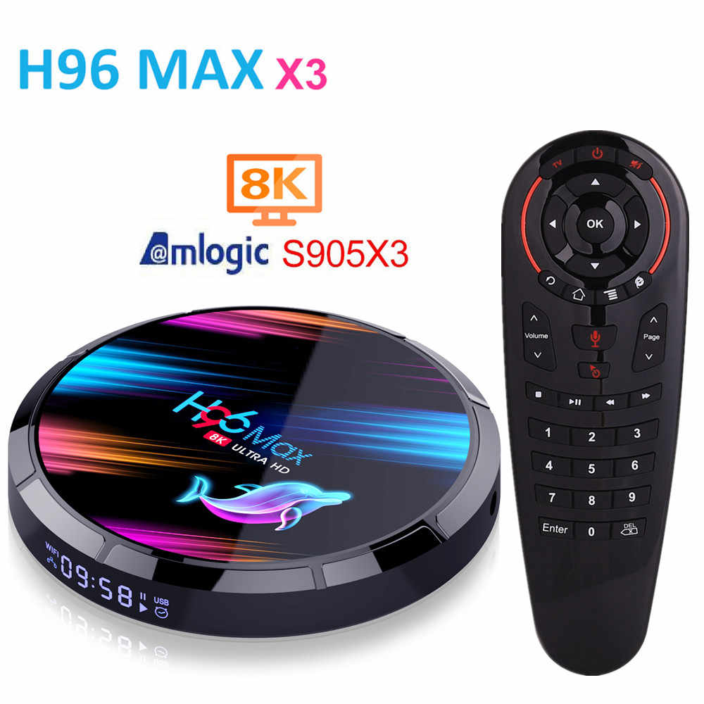 H96 MAX X3 Amlogic S905X3 Smart TV BOX Android 9.0 4GB RAM 32GB 64GB 128GB ROM lecteur multimédia 1000M 2.4G/5G wifi 8K Andorid TV Box