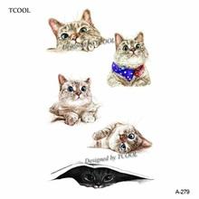 HXMAN Cat Temporary Tattoo Sticker Watercolor Animals Tattoos for Women Body Art Child Girls Hand Fake Tatoo 9.8X6cm A-279