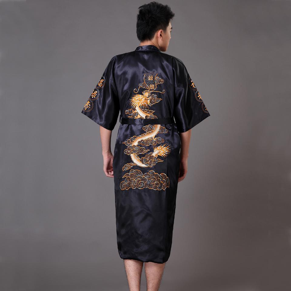 Повседневная мужская пижама с коротким рукавом, кимоно, платье, изысканная вышивка, Свадебный халат с драконом, летняя Мягкая атласная ночная рубашка, домашняя одежда, пижама - Цвет: Navy Blue A