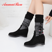 ANMAIRON Winter Slip-On Patchwork Sock Boots Women Strap Flat with Flock Mid-Calf Wool Round Toe Nubuck Beige Shoes