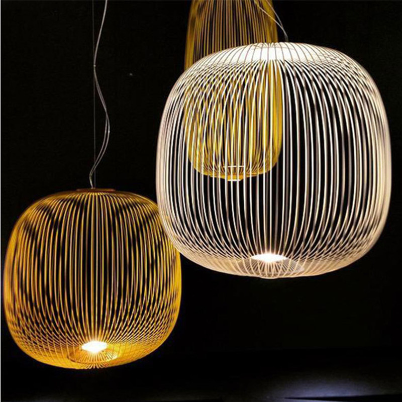 Modern Pendant Lights Replica Foscarini Spokes 1/2 hanging lamp LED Birdcage Fixture Living room Dining Room indoor lighting