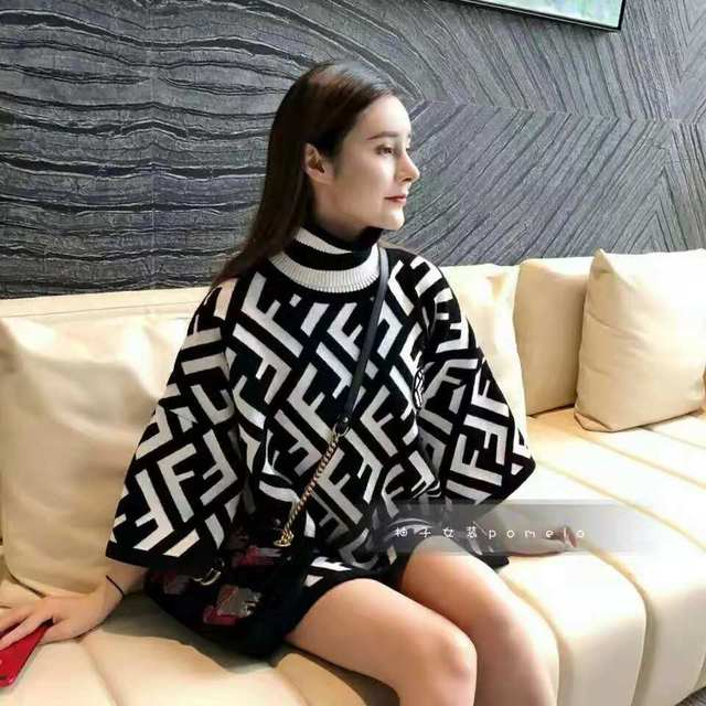 Ladies new early autumn picture album with cape high collar split seven sleeve sweater 3