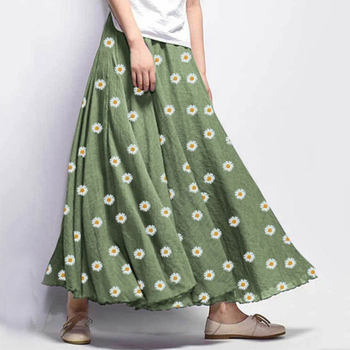 Women Chiffon Floral Skirts Daisy Print Long Skirt Big Swing Summer Casual Beach Loose A-Line Ladies Clothing