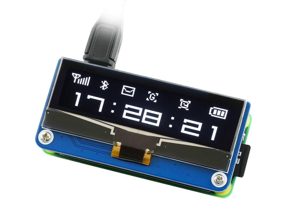 Waveshare 2.23inch OLED Display HAT For Raspberry Pi, 128×32 Pixels, SPI/I2C Interface