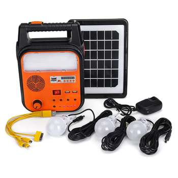 USB Charging Solar Power Generator with 3 Bright LEDs and FM Radio MP3 Functions