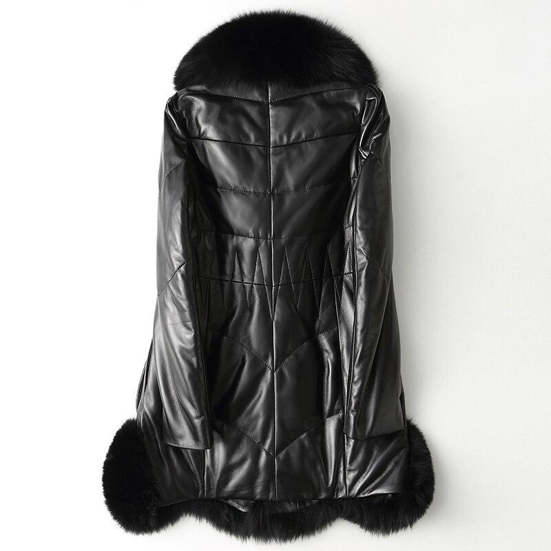 Women Leather Sheepskin Jacket Genuine Down Jacket Fox Fur Collar White Duck Down Winter Coat Women Slim Long Coat Plus Size