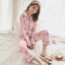 2019 Autumn Winter Women Pajama Set women Print Pyjama Set long Sleeve Sleepwear Suit Women Nightshirt Sets Sexy Pink Homewear