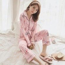 Conjunto de pijama de otoño invierno 2019, pijama estampado para mujer, conjunto de pijama de manga larga, ropa de dormir para mujer, conjunto de camisón Sexy rosa, ropa de casa