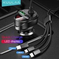 KUULAA caricabatterie per auto USB caricabatterie rapido 4.0 caricabatterie per telefono cavo Micro USB tipo C a ricarica rapida per iPhone Xiaomi Huawei SONY Samsung