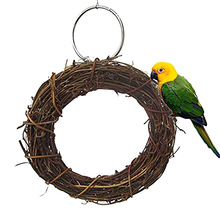 15cm Creative Features font b Pet b font Cage Accessories Bird Playing Perch Rattan Woven Standing