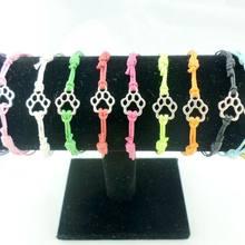 10 pçs moda gato cachorro pata estampas encantos pulseiras cordão vermelho ajustável amizade pulseira tornozeleira feminino presentes