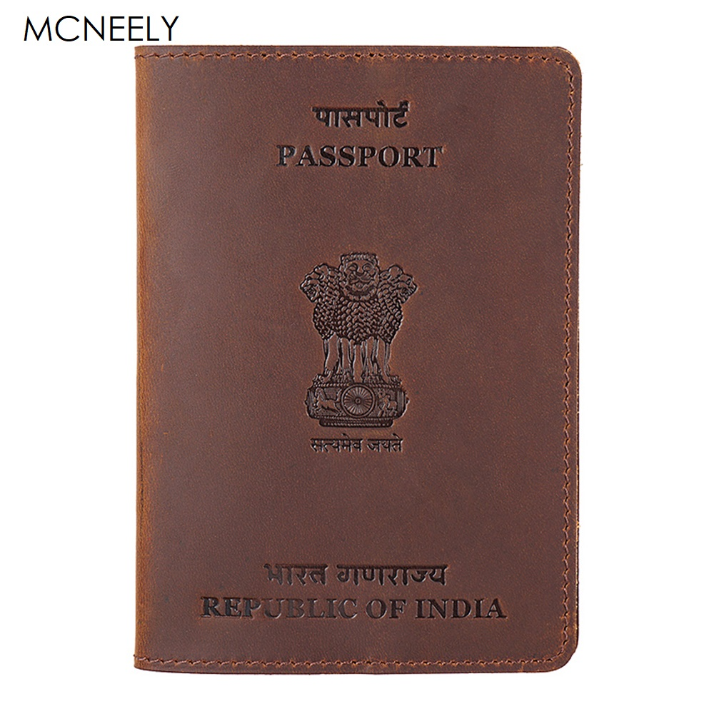 Mcneely Real Leather Indian Passport Holder Solid Credit Card ID Holder Passport Case Travel Business Passport Cover For India
