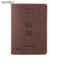 Bagaj ve Çantalar'ten Kart ve KİMLİK Tutucular'de Mcneely gerçek deri hint pasaport tutucu düz kredi kartı kimlik tutucu pasaport çantası seyahat iş pasaport kapağı hindistan