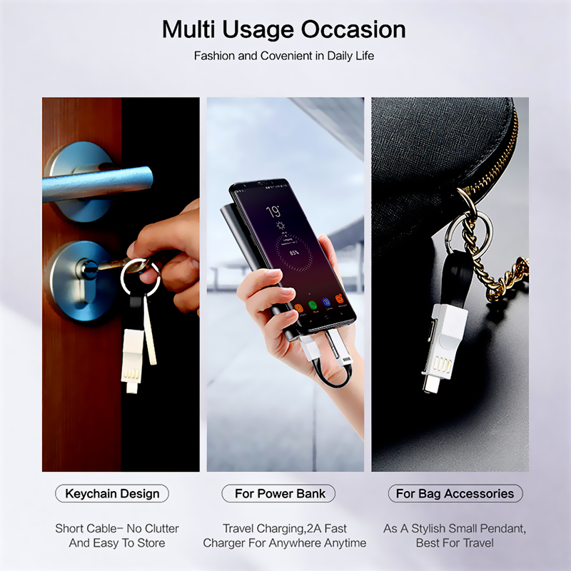 3 in 1 USB Cable Magnetic Micro USB Type C Lighting Cable For iPhone XS Samsung A50 Keychain Portable Charger Phone USB C Cables in Mobile Phone Cables from Cellphones Telecommunications